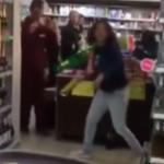 Нетрезвая барышня устроила погром в супермаркете. Видео