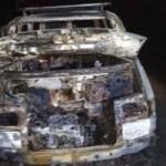 На Львовщине посреди дороги сгорел микроавтобус